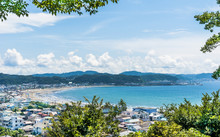 Kamakura; Japan; Overlookng Yuigahama Beach And Harbor