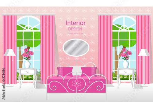 The Interior Of The Bedroom Room In Pink Bedroom Furniture Vector
