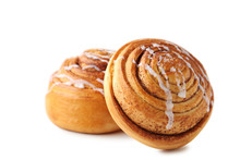 Cinnamon Buns Isolated On Whit...