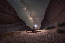 Man Lighting Up White Domes In Valley Of Fire State Park