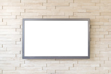 TV Display On Modern Brick Wall Background With White Screen