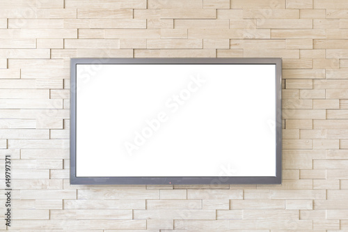 Photo  TV display on modern brick wall background with white screen