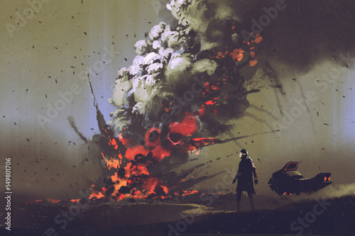 Foto op Aluminium Grandfailure sci-fi scene of the man with his vehicle looking at bomb explosion on the ground, illustration painting
