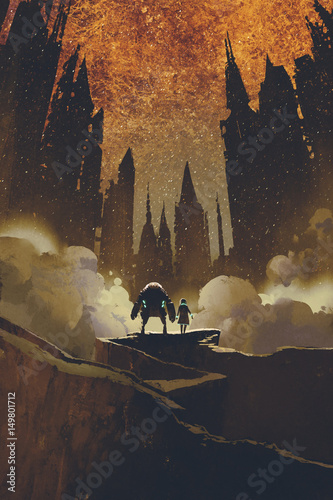 the girl and robot standing on rock path looking at dark castles and burning sky on background with digital art style, illustration painting