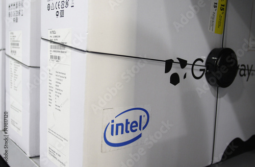 The Intel logo is advertised on the side of a computer box