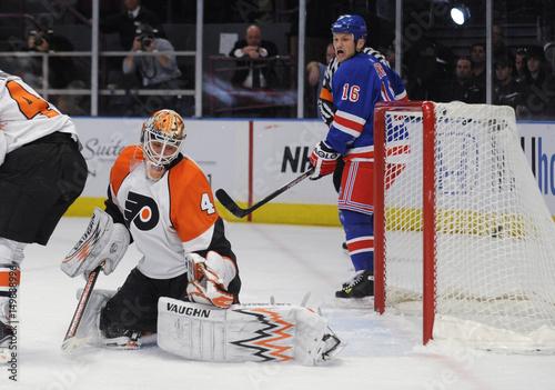 Philadelphia Flyers Goaltender Biron Lets A Shot By The New York