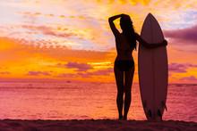 Hawaii Surfer Woman At Sunset ...