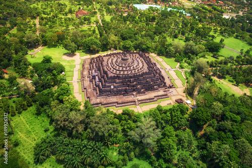 Foto op Aluminium Indonesië Borobudur Temple Aerial View, Central Java, Indonesia
