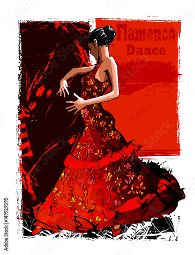 Autocollant pour porte Art Studio Flamenco spanish dancer woman