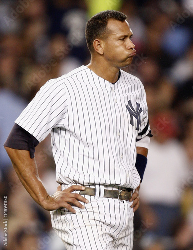 New York Yankees Rodriguez reacts after being stranded on base