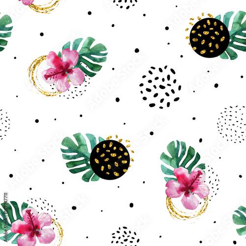 akwarela-egzotycznych-kwiatow-i-streszczenie-tekstura-kola-tlo