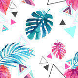 Abstract watercolor triangle and exotic leaves seamless pattern. - 149951500