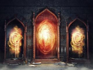 Ciemna komnata zamkowa z magicznymi lustrami i książkami