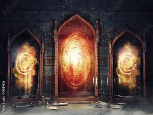 Obraz Ciemna komnata zamkowa z magicznymi lustrami i książkami - fototapety do salonu