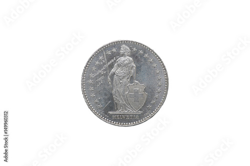 Fotografie, Tablou  Swiss Confederation money coin 2 Francs isolated on white background, 1997 year