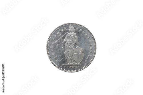 Swiss Confederation money coin 2 Francs isolated on white background, 1997 year Tapéta, Fotótapéta