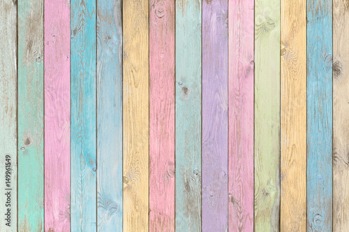 Fototapeta colorful pastel wood planks texture or background