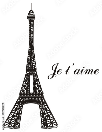 Paris France Eiffel Tower Symbol Illustration Cartoon Mettal Famous Tower Silhouette Travel City French Parisian Inscription Je T Aime Buy This Stock Illustration And Explore Similar Illustrations At Adobe Stock Adobe