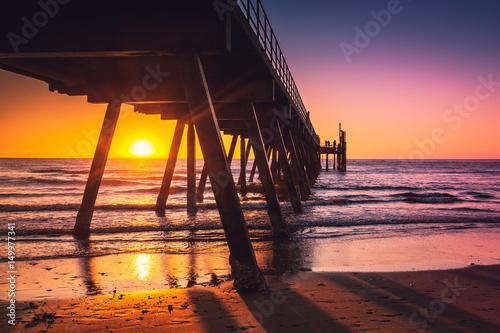 Poster Océanie Glenelg beach jetty at sunset