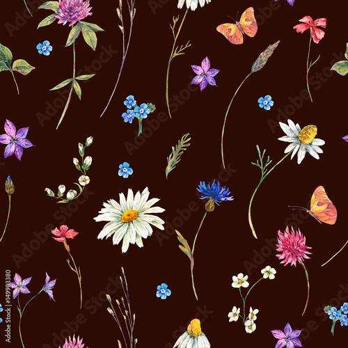 Leinwandbilder - Watercolor seamless pattern with wildflowers