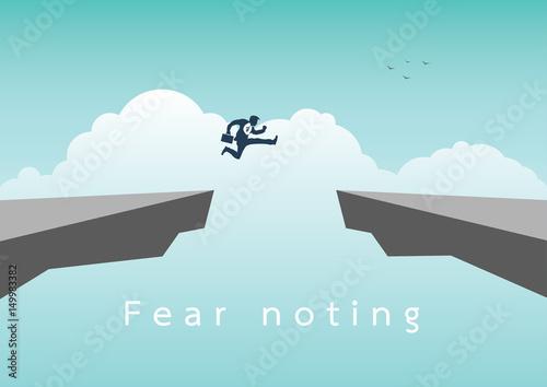 Fotografiet Businessman jumping over chasm vector concept
