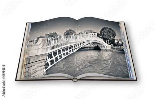 "The most famous bridge in Dublin called ""Half penny bridge"" due to the toll charged for the passage - 3D render opened photo book - I'm the copyright owner of the images used in this 3D render Poster"