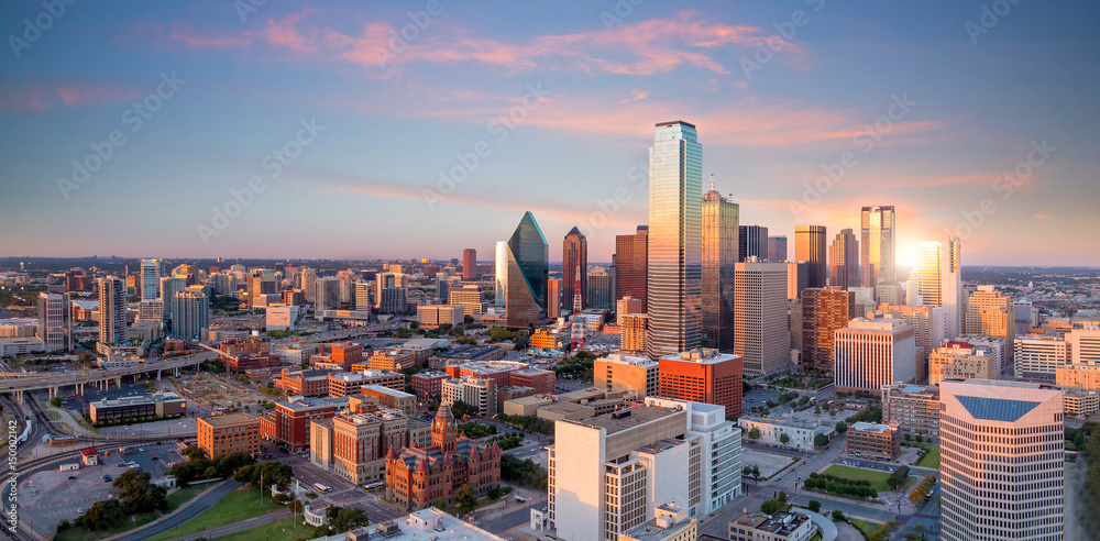 Fototapety, obrazy: Dallas, Texas cityscape with blue sky at sunset