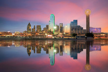 Dallas Skyline Reflected In Tr...