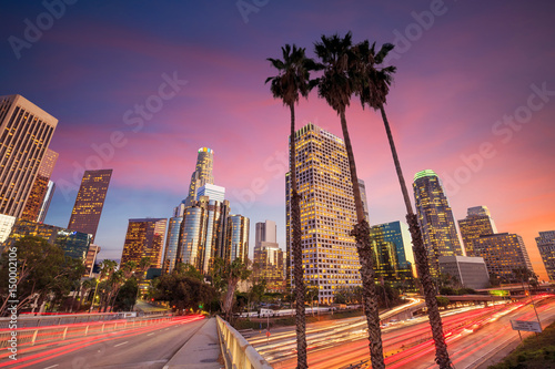 Canvas Prints American Famous Place Downtown Los Angeles skyline