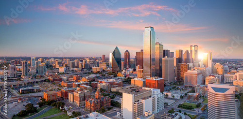 Canvas Prints American Famous Place Dallas, Texas cityscape with blue sky at sunset