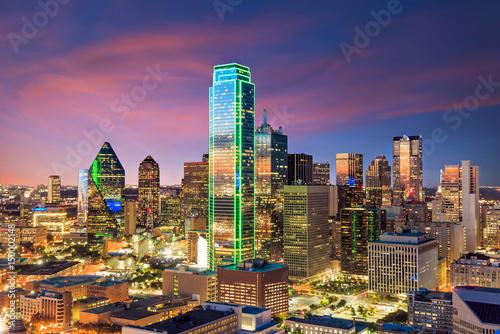 Poster Texas Dallas, Texas cityscape with blue sky