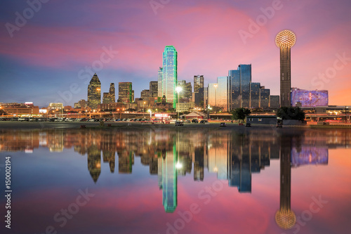Photo Stands United States Dallas skyline reflected in Trinity river at sunset