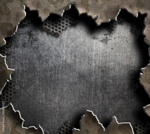 big hole in metal military board 3d illustration