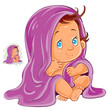 Vector illustration of small child after bath wrapped in a towel isolated on white. Print, template, design element