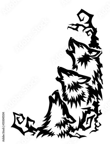 czarne-glowy-wilkow-na-bialym-tle