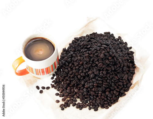 Recess Fitting Coffee bar Roasted Coffee Beans and Cup of coffee