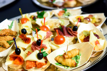 Home Made Canapes Small Sandwiches Appetizers.
