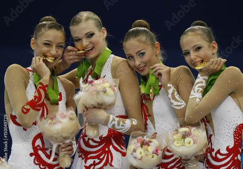 Russia's Evgenia Kanaeva, Olga Kapranova, Daria Kondakova and Daria