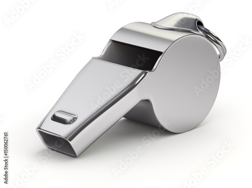 Photo Metal whistle on white background
