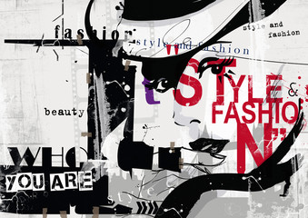 Fototapeta Fashion girl in sketch-style.