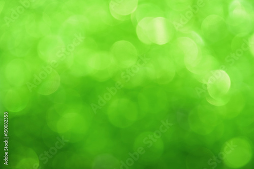 Fresh green bokeh lights abstract background