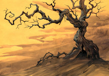Halloween Illustration Of A Big Fantasy Old Crooked Tree
