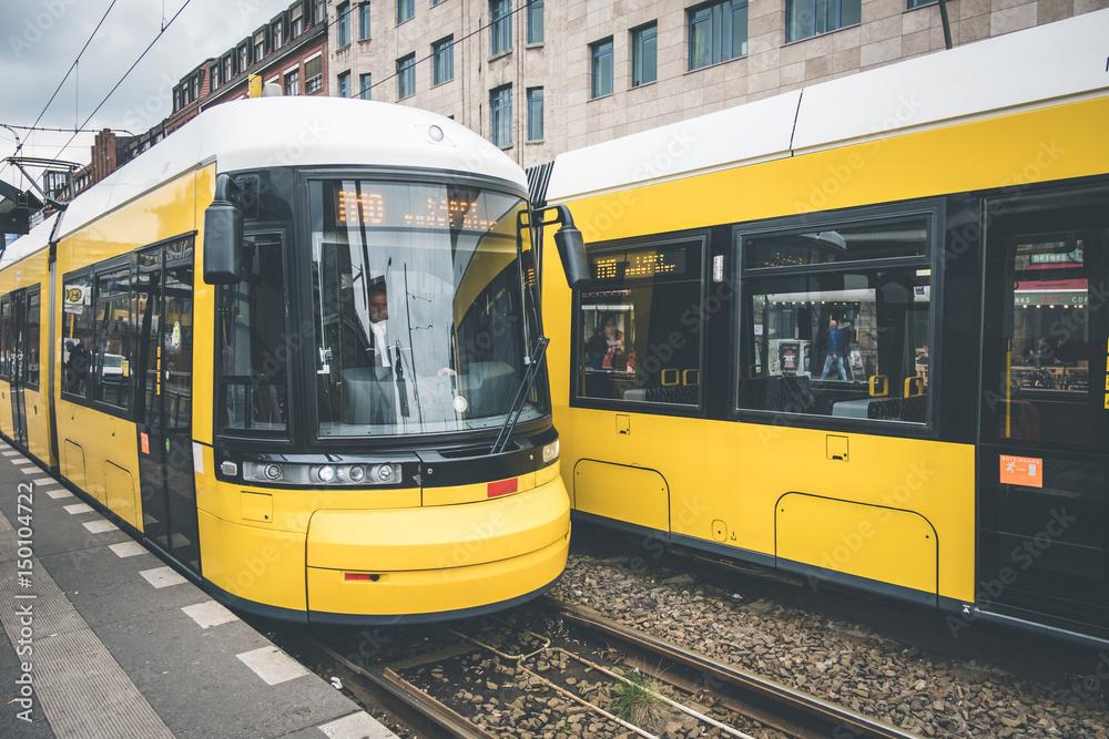 Fototapety, obrazy: Berlin city tram, electric train on the street at Warschauerstr. in Berlin