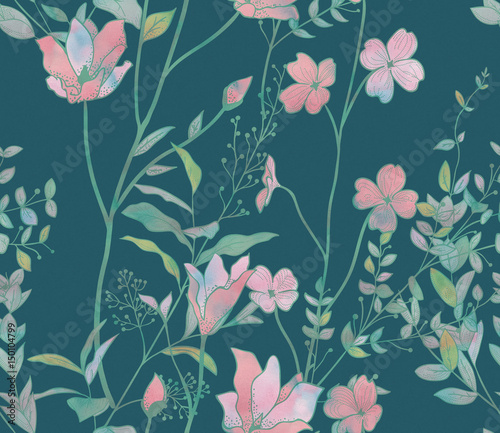 Türaufkleber Künstlich Seamless Pattern with Watercolor Flowers, Branches, Plants