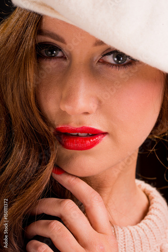 a7167f2729d Close up portrait of beautiful young woman wearing a beret hat ...
