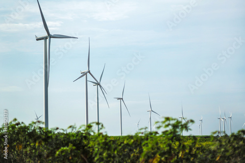Tuinposter Lichtblauw Wind turbine wind power