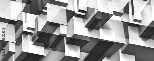 Zdjęcie XXL Objętościowa geometryczna szklana budowa, 3d sześciany siwieją tło, kształtuje mozaikę, abstrakci tapeta, wektorowy projekt dla ciebie prezentacja