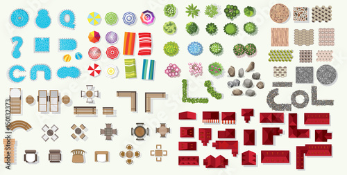 Poster Blanc Set of vector wooden benches and tree top symbols. Collection for landscape, top view, plan, beach Infographic,swimming pool, stone floor texture