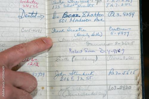 Darren Julien points out names in Marilyn Monroe's address book in