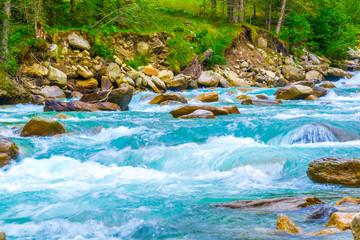 Fototapeta na wymiar View of the Krimml Waterfall which is the highest waterfall in Austria.